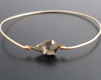 Gray Bangle Bracelet Johanna  - Gold Tone, Gray Rhinestone Jewelry, Gray Rhinestone Bracelet, Gray Bracelet, Gray Teardrop, Gray Jewelry
