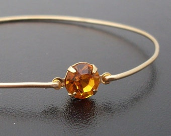 Bangle Bracelet Henrietta - Gold, Yellow Rhinestone