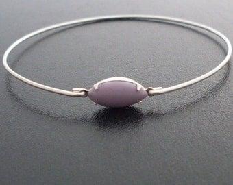 Lavender Bangle Bracelet, Laura - Silver, Lavender Bracelet, Lavender Jewelry, Purple Bracelet, Purple Cabochon Bracelet, Purple Jewelry