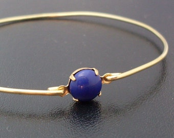 Nautical Blue Bangle Bracelet Marlisa - Gold Bracelet Bangle, Nautical Blue Bracelet, Nautical Blue Jewelry, Nautical Bangle Bracelet