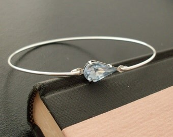 Bangle Bracelet Fraya  - Silver, Blue Rhinestone