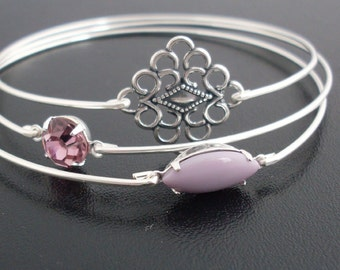 Morning Dew - Purple, Lavender, and Silver Stacking Bangle Set, Shades of Silvers Glistening in the Early Morning Light, Silver Bangle Set
