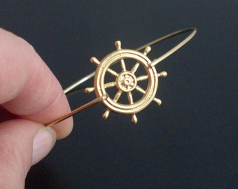 Nautical, Ship Wheel Bracelet, Gold, Nautical, Ship Wheel Jewelry, Nautical Wheel Bangle Bracelet, Sailing Ship Jewelry, Boat Wheel Bracelet