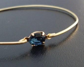 Bangle Bracelet Lina - Gold Tone, Blue Rhinestone, Blue Stone Jewelry, Blue and Gold Bracelet