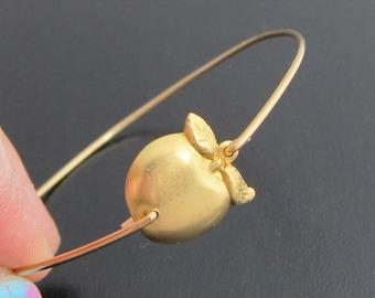 Apple Bracelet, Golden Apple Bangle, Teacher Gift, Teacher Bracelet, Apple Jewelry, Teacher Jewelry, Teacher Appreciation Gift for Teacher