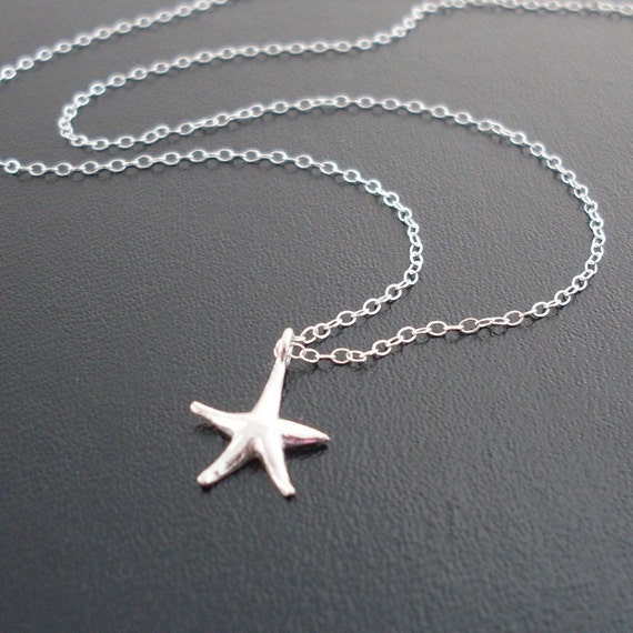 Sea Star Necklace, Silver Starfish Necklace, Sterling Silver Star Necklace, Star Charm Necklace, Small Star Necklace, Star Necklace