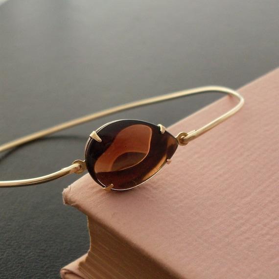 Vintage Glass Amber Brown Bangle Bracelet, Monika - Gold, Brown Bracelet, Brown Amber Bracelet, Amber Bangle, Amber Jewelry, Brown Jewelry
