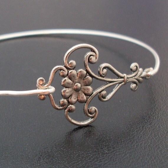 Bangle Bracelet Magdalena, Silver Bangle Bracelet, Flower Filigree Bracelet, Antique Style Jewelry, Silver Bracelet, Unique Handmade Jewelry
