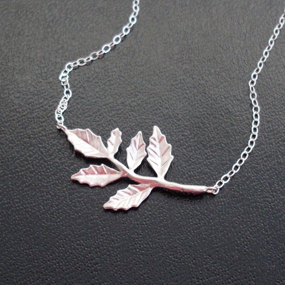Silver Branch Necklace, Silver Leaf Necklace, Nature Necklace, Delicate Necklace, Tree Branch Necklace, Silver Necklace