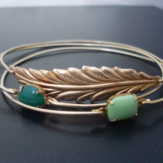 Woodland Stackable Bracelet Set, Nature Jewelry, Nature Lover Gift, Green Jewelry, Green Bracelets, Gold Tones, Stacking Bangle Bracelet Set