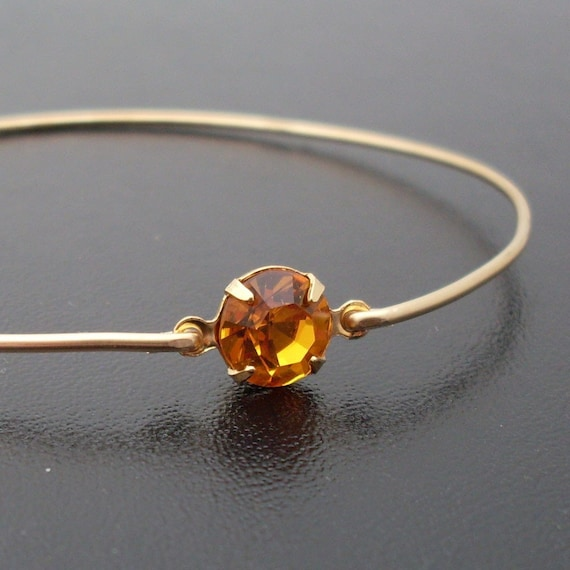 Bangle Bracelet Henrietta - Gold, Yellow Rhinestone