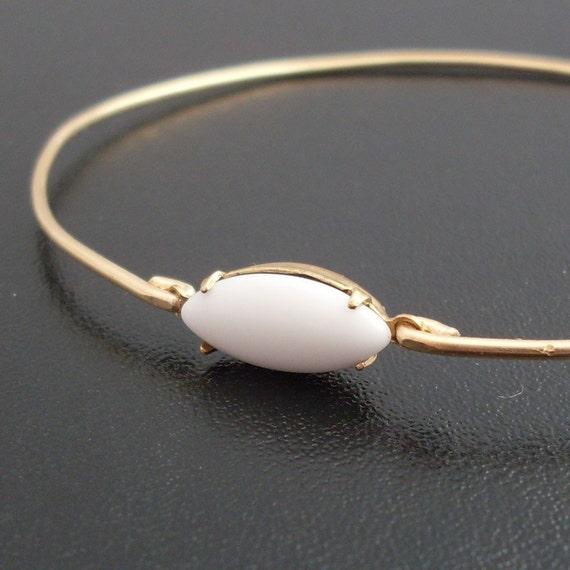 White Cabochon Bangle Bracelet, Friederika - White and Gold Bracelet, White, Cabochon Bracelet, Cabochon Jewelry, White and Gold Jewelry