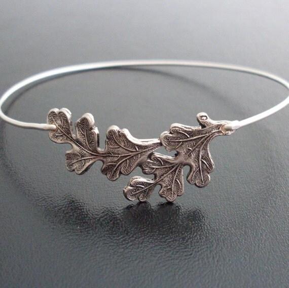 Oak Leaf Bangle Bracelet - Silver, Oak Leaf Bracelet, Oak Leaf Jewelry, Oak Leaves, Oak Bracelet, Oak Bangle, Oak Tree Jewelry, Oak Jewelry