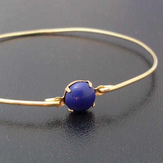 Nautical Blue Bangle Bracelet Marlisa - Gold Bracelet Bangle, Nautical Blue Bracelet, Nautical Blue Jewelry, Nautical Bangle Bracelet