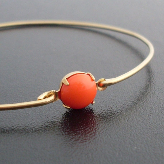 Coral Red Bangle Bracelet - Alessa, Red Coral Bracelet, Coral Bangle, Coral Bridesmaid Jewelry, Red Bridesmaid Jewelry, Red Coral Jewelry