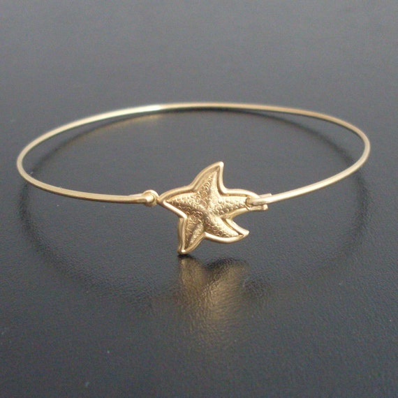 Starfish Bangle Bracelet, Gold, Starfish Bracelet, Starfish Jewelry, Star Fish, Sea Star Jewelry, Sea Star Bracelet, Summer, Beach Jewelry