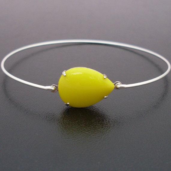 Neon Bangle Bracelet Sina - Silver, Neon Yellow Bracelet, Neon Bracelet, Neon Jewelry, Neon Yellow Bangle Bracelet, Neon Yellow Jewelry