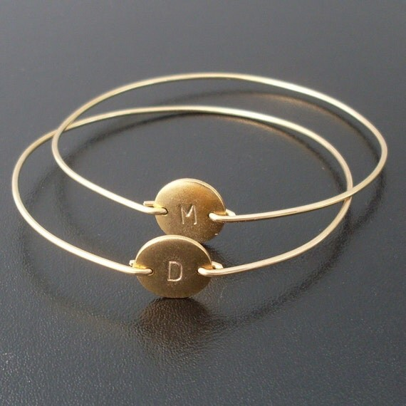 RESERVED 6 Personalized Custom Initial Bangle Bracelets - Gold, Custom Initial Jewelry, Personalized Initial Bracelets