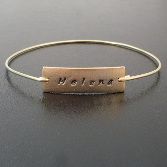Personalized Name Bangle Bracelet - Gold Name Bracelet, Whimsical Jewelry, Custom Hand Stamped Name Jewelry, Customized Letter Jewelry