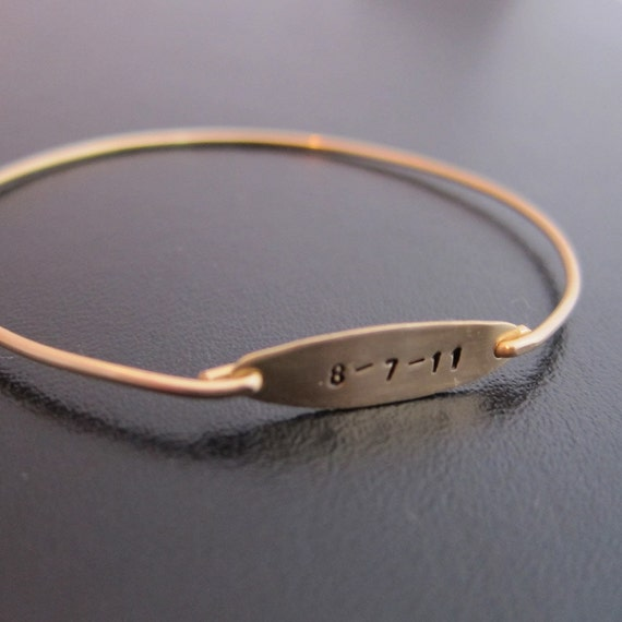 RESERVED Personalized Baby Birthdate Bangle Bracelet, Custom Date Jewelry,  Personalized Birthday Jewelry, Custom Birthday Bracelet