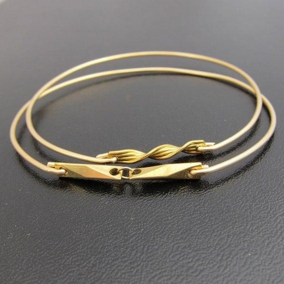 Twister Bangle Bracelet Set - Gold, Twist Bangle Stack, Twist Bracelet Stack, Twist Jewelry, Twister Stacking Bangle Set Design