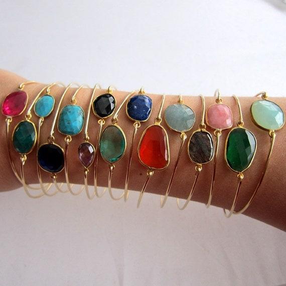 Gemstone Bangle, Gemstone Jewelry, Gemstone Bracelet, Gold, Your Choice of Gem Stone Bracelet, Gem Bracelet, Gem Jewelry, Gem Stone Jewelry