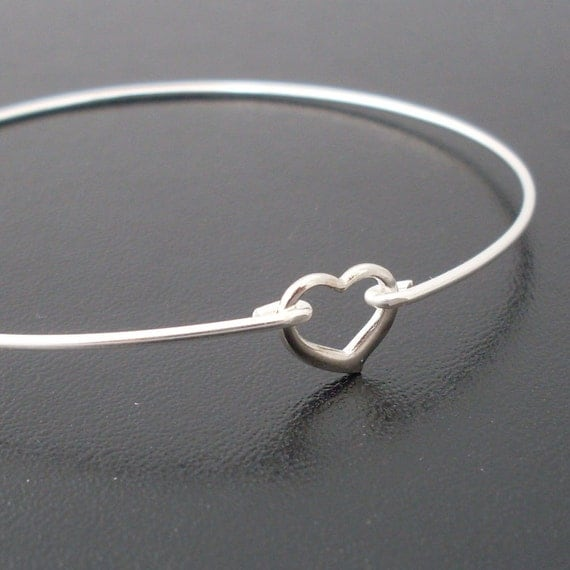 Heart Bracelet, Sterling Silver Bangle Band, Bridesmaid Jewelry, Bridesmaid Wedding Jewelry, Bridal Party, Bridesmaid Gift Bracelets