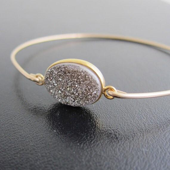 Silver Druzy Bracelet - 14k Gold Filled Bangle - Genuine Gemstone - Silver Druzy Jewelry, Druzy Bangle, Druzy Bracelet