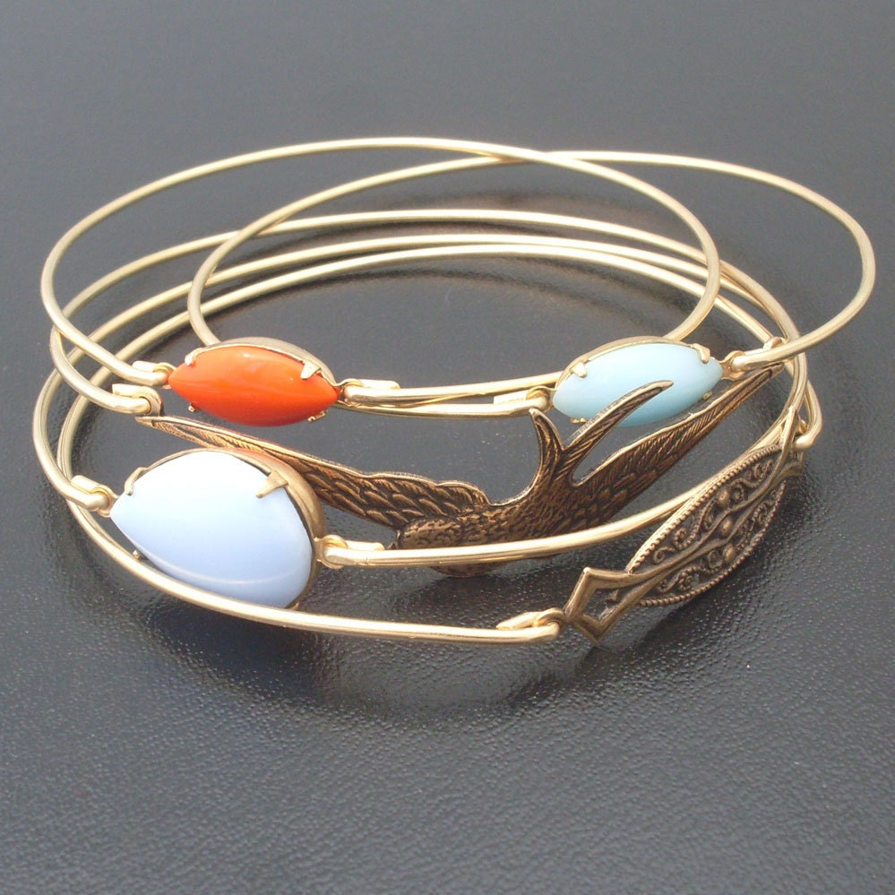 Gold Jewelry Bracelets: Free As A Bird Stacking Bangle Bracelet Set Gold Bracelet