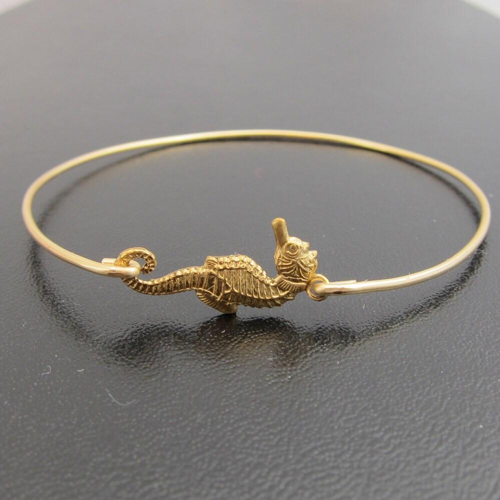 Summer Bracelets: Seahorse Bracelet Seahorse Bangle Bracelet By FrostedWillow