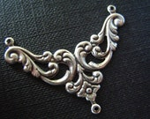 1PC  Floral Open Work 3 Loop Connectors Oxidized sterling silver plated Brass connector/link--61