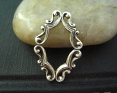 1 PC highly detailed Victorian style ornate framework Oxidized sterling silver plated Brass--22