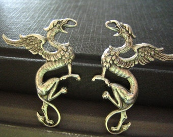 2 PC Medieval Style Griffin Stampings in Oxidized sterling silver plated Brass--50