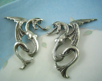 2 pc MYTHICAL MONSTER ox silver brass stamping embellishment
