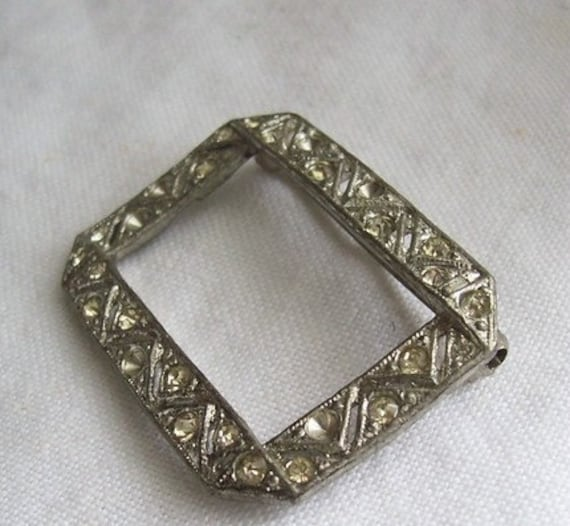 Antiquities - Framed - A Very Vintage Rhinestone Open Rectangle Brooch for Rescue