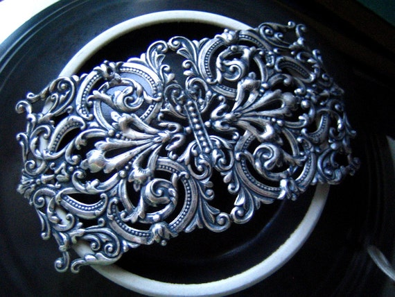 RARE RARE--- Huge Vintage heavy sterling silver plated brass highly detailed art nouveau floral filigree stamping finding