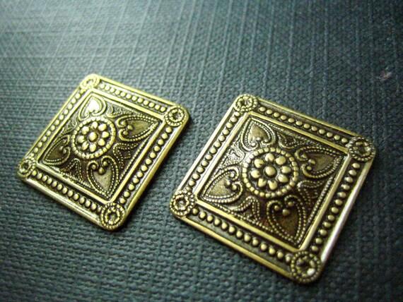 2 PC Ornate Square Ornament Stamping Oxidized Brass