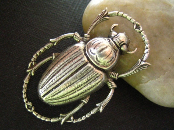 1PC Egyptian Influence Scarab Beetle in Oxidized sterling silver plated Brass