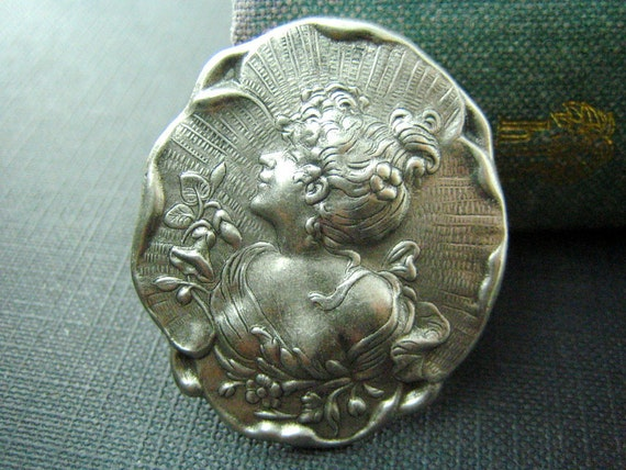 1 pc Victorian Maiden Cameo Oxidized Silver 40x35mm