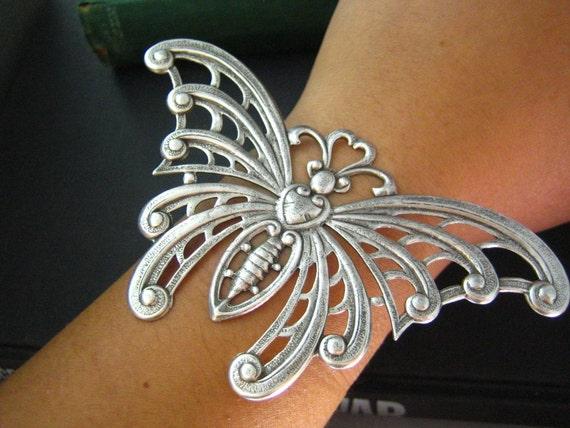 1 PC huge Mega Butterfly Art Deco Style Oxidized Silver brass 105mm