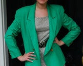 Bright Emerald Green Oversized Boyfriend Blazer 80s