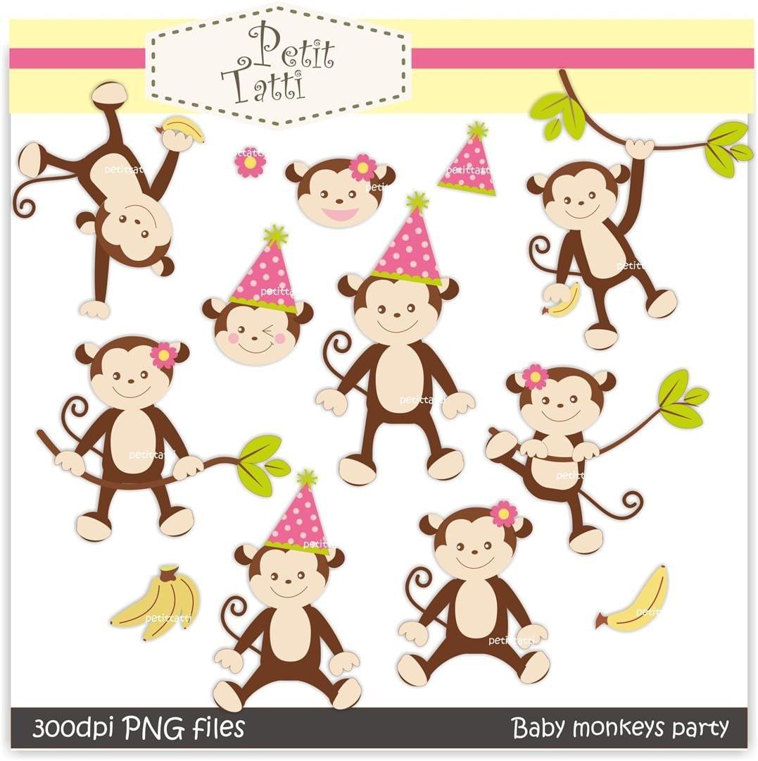On sale monkey girls digital clip art baby monkey by petittatti