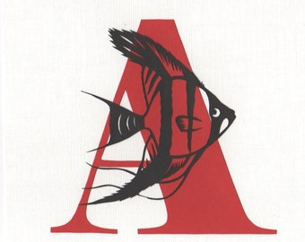 A is for Angelfish - Print from original papercut art