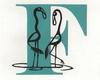 F is for Flamingo - Print from original papercut art