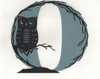 O is for Owl - Print from original papercut art