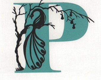 P is for Peacock - Print from original papercut art