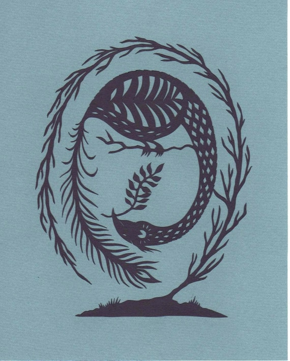 The Peacock and the Egg - Print from original papercut art