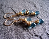 London blue topaz and gold wire wrapped earrings, blue topaz jewelry, gemstone earrings