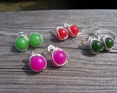 Jade and sterling silver wire wrapped post earrings, bridesmaids gifts, jade jewelry