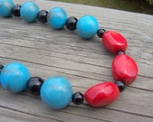 Red coral and black onyx necklace, southwest necklace, southwest jewelry